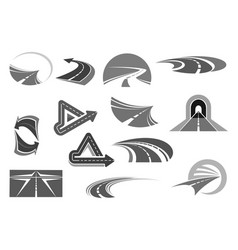 icons of roads tunnels and highway signs vector image