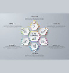 infographic design element with 6 process steps vector image