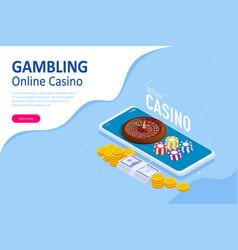 isometric online casino concept online big slots vector image