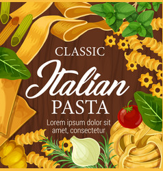 Italian homemade pasta noodles and seasonings menu vector
