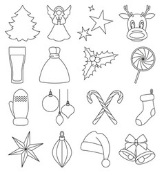 line art black and white christmas elements vector image