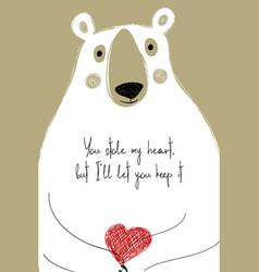 Love card with cute bear vector