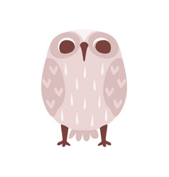 Lovely funny cartoon grey owlet bird character vector