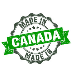 Made in canada round seal vector