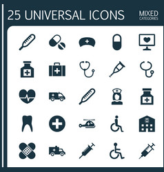 Medicine icons set collection of review plus vector