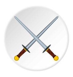 Medieval swords icon circle vector