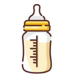 Milk bottle linecolor vector