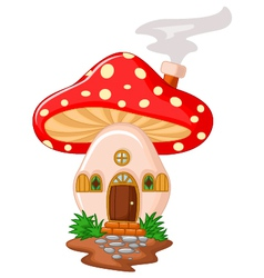 Mushroom house cartoon vector