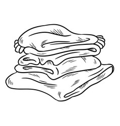 Neat cozy pile of plaids doodle folded clothes vector