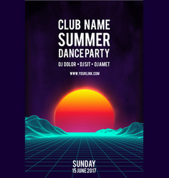 Night dance party poster background 80s vector
