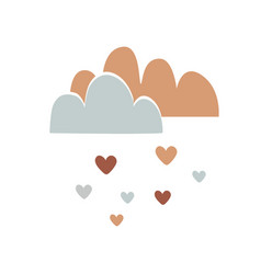 nursery art with cute clouds and hearts rain vector image
