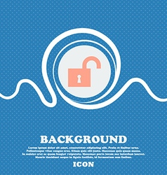 open lock sign icon Blue and white abstract vector image