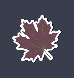 Paper sticker on stylish background maple leaf vector