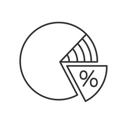 percentage pie chart linear icon vector image
