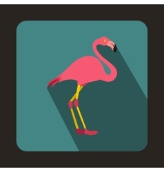 Pink flamingo icon in flat style vector image