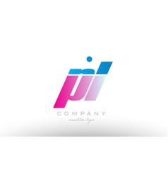 pl p l alphabet letter combination pink blue bold vector image