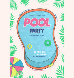 Pool party poster summer event festival vector