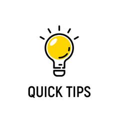 Quick tip hint icon bulb fact tip idea vector
