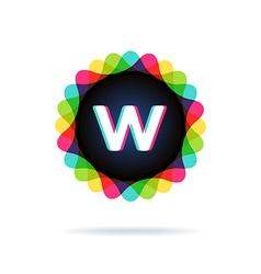 Retro bright colors Logotype Letter W vector image