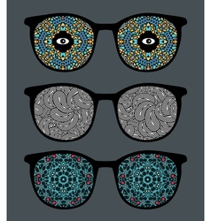 Retro sunglasses with psychedelic reflection vector