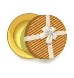 round striped gift box with tender beige ribbon vector image