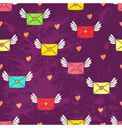Seamless pattern with post letters Love mail Copy vector