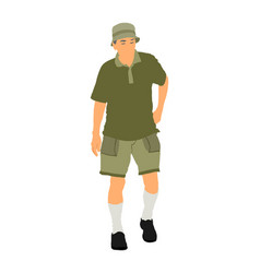 senior tourist walking alone isolated vector image