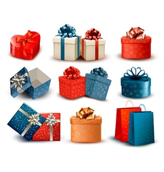 Set of colorful retro gift boxes with bows and vector