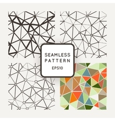 Set of four seamless patterns polygon with vector image