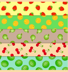 set seamless patterns fruits and berries vector image