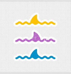 shark fin sticker design vector image