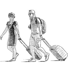 sketch a couple vacationers with luggage vector image
