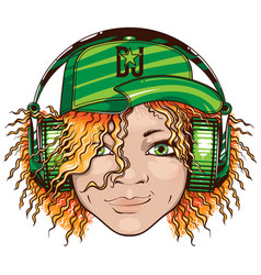 smiling girl dj in green headphones vector image