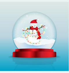 snow globe with snowman with red scarf vector image