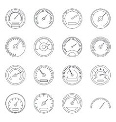 Speedometer icons set outline style vector image
