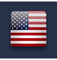 Square icon with flag of the USA vector image