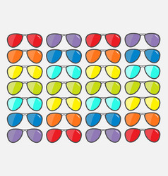 sunglasses icon glasses set with rainbow lenses vector image