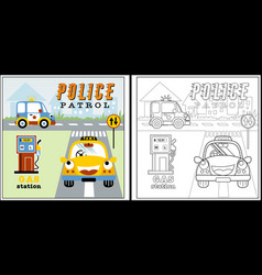 traffic with funny vehicles coloring page or book vector image
