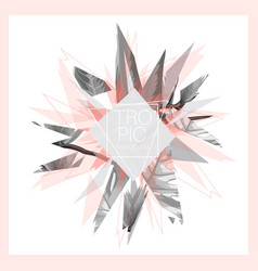 Tropic leaves pink grey black white abstract vector