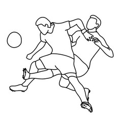 two soccer player playing football vector image