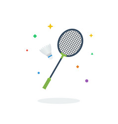 Unique flying racket shuttlecock badminton flat vector