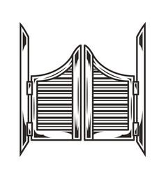 Vintage saloon wooden swinging doors concept vector