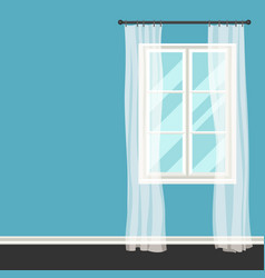 white plastic window with transparent curtains on vector image