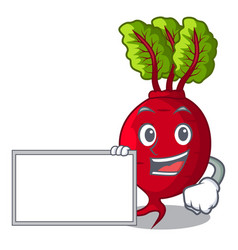 With board cartoon fresh harvested beetroots in vector