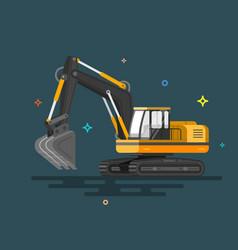 with flat industrial excavator vector image