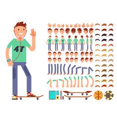 Young and happy character creation vector