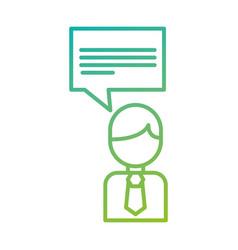 businessman with speak bubble conversation dialog vector image