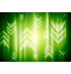 Green neon light with tech arrows vector image vector image