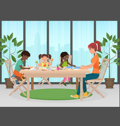 happy family mother and kids together paint vector image vector image