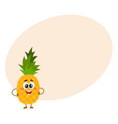 pineapple character with smiling face standing vector image